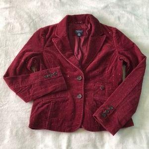 American Eagle Dark Red Sparkle Corduroy Blazer M